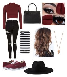 """Burgundy outfit"" by sophiesidoli on Polyvore featuring WearAll, Topshop, Vans, Prada, Kate Spade, Element and Pamela Love"