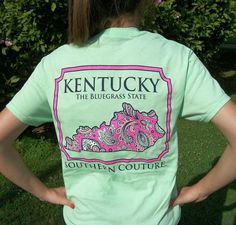 Southern Couture Kentucky Mint Green Paisley The Bluegrass State T-Shirt -Preppy #CoutureTeeCompany #GraphicTee