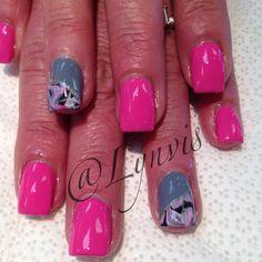 Pink & Gray water marble nail art