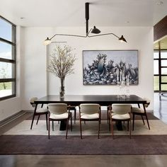 Serge Mouille Three Arms Ceiling Lamp Asymmetrical Balance Dining Rooms Area Kitchen