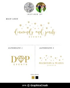 Gold Glitter Logo Design Handwritten Font Logo Diamonds and Pearls Logo Design Blog Logo Design Event Planner Logo