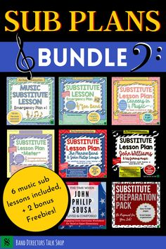 Music teachers, if you are searching for fun, non-prep music sub plans, this bundle is for you! This set includes 6 music sub plans, a sub preparation pack & bonus Sousa worksheet. The careers in music lesson plan is non-tech if your sub has no access to technology. Word for word sub instructions are included so these are perfect for even a non music sub! The intended grade level is middle school or upper elementary and these are suitable for band, choir, orchestra & elementary music… Music Teachers, Music Classroom, Teaching Music, Music Education, Classroom Ideas, Music Sub Plans, Music Lesson Plans, Music Lessons, Piano Lessons