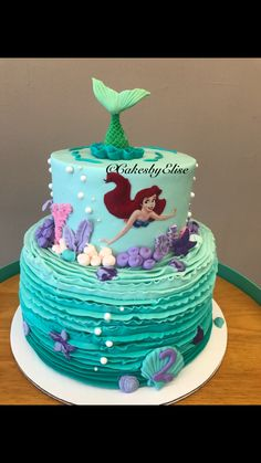 Little mermaid cake. Little mermaid swimming cake.