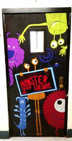 Monster themed classroom door.