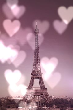 Pink Hearts Eiffel Tower Photo Tour Eiffel by CharmantPhotography