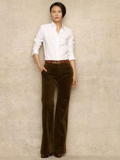 Leticia Corduroy Trouser - Pants & Shorts   Women - RalphLauren.com