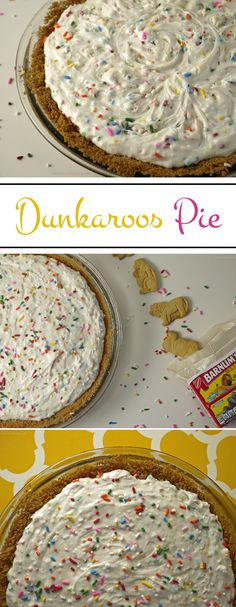 """Stress Baking   Dunkaroos Pie: A childhood favorite turned into a pie! Sprinkle-filled Funfetti """"frosting"""" sits atop an animal cracker crust. Pi Day is the perfect excuse to make this!"""