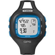 Timex T5K639 Men's Marathon GPS Blue Accent Bezel Black Resin Case Digital Dial Black Rubber Strap Watch