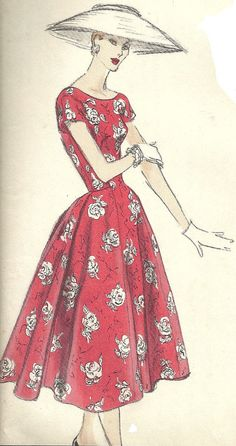 Amazing pattern for a gorgeous 1950s Vogue Special Design Dress with sleeves and a full skirt, plus the original sew-in Vogue label.