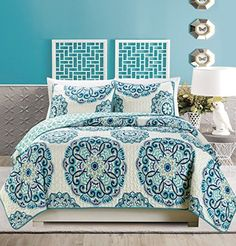 3Piece Fine printed Oversize 115 X 95 Quilt Set Reversible Bedspread Coverlet KING  CAL KING SIZE Bed Cover Turquoise Navy Blue Grey *** More info could be found at the image url.