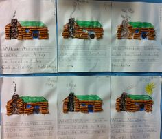 Students created a Lincoln Log Cabin Using Pretzels