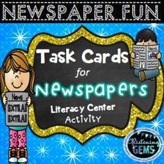 Literacy Center Task Cards using Newspapers Literacy Skills, Literacy Centers, Classroom Activities, Character Traits Activities, Reading Comprehension Strategies, Thinking Skills, Task Cards, Teacher Resources, English