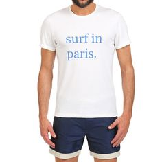 SURF IN PARIS T-SHIRT COLOR WHITE White cotton scoop neck T-shirt with contrast Surf in Paris front print. Short sleeves. COMPOSITION: 100% COTTON. Model wears size L, he is 189 cm tall and weighs 86 Kg.