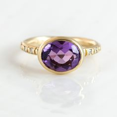 Oval Purple Amethyst and Diamond Ring in 14k Gold by Jewelry Designer Melanie Casey