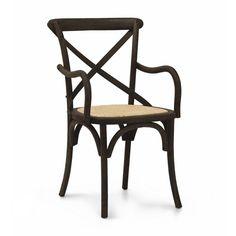 Cadeira Paris de Madeira com Braço Marrom Escuro - 2 cadeiras   Iaza Móveis de Madeira