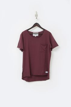 Profound Aesthetic Elongated Raw Cut Basic Tee Shirt in Oxblood  http://profoundco.com/collections/tees/products/basic-raw-cut-elongated-short-sleeve-tee-oxblood