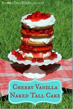 Cherry Vanilla Cake, Tall Cake, Naked Cake, Wilton Easy Layers, Wilton, #WiltonTreatTeam