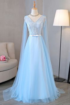 Blue tulle long A-line senior prom dress with pearl