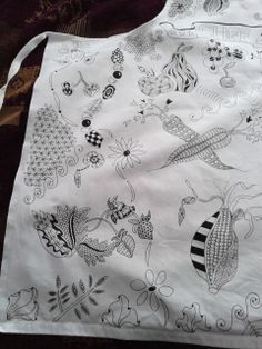 Picture 3 of 3 #zentangle inspired #apron with veg and fruit theme