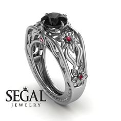 Unique Engagement Ring 14K White Gold Flowers by SegalJewelry