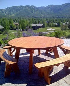1000 ideas about round picnic table on pinterest picnic tables picnic tab - Fabriquer table picnic ...