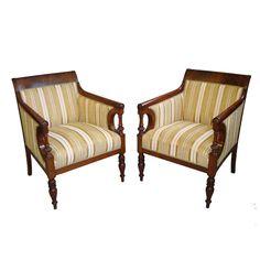 Elegant 19th Century Pair of French Mahogany Armchairs