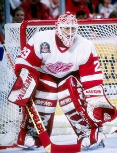 "Mike Vernon! Traded to DET after 12 seasons with Calgary. '94/95 to 96/97. MVP of 96/97 Playoffs. Won Stanley Cup with Wings in '97. Smiter of Patrick ""Glass Jaw"" Roy."