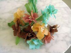 Vintage 1950s Millinery Lovely Flower Bunch Mixed Colors Leaves Stems Germany
