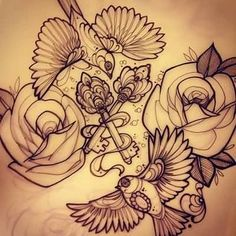 flower and key tattoos - Google Search