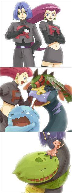 Team Rocket and their Pokemon. James is best. Poor Pokemon that don't have james. And SHE has them.