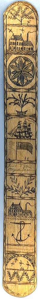Scrimshaw Busk. Engraved and Blackened Ivory. Circa 19th Century.
