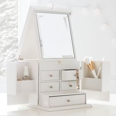 Take your beauty organization to the next level. This vanity is loaded with drawers and cubbies so there's plenty of room to keep all your accessories neatly sorted, and the lid props up to reveal a handy mirror. Diy Bedroom Decor, Bedroom Furniture, Home Decor, Design Bedroom, Fancy Bedroom, Bedding Decor, Decor Room, Bed Design, Bedroom Ideas