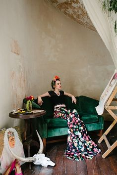 Artistic bridal stylized photo shoot inspired by Frida Kahlo! *Paisley & Jade Vintage & Eclectic Furniture Rentals for Events, Weddings, Theatrical Productions & Photo Shoots* Image by Jessica Maida Photography