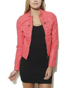 Wet Seal coral leather jacket