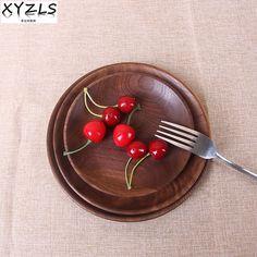 Xyzls черный орех/бука круглая пластина Диаметр 15/18/20 см твердой древесины тарелка блюдо завтрак лоток десерт фрукты Столовая посуда