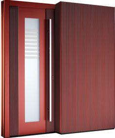 Haustürmodell Chicago mit seitlicher Verkleidung von Pieno Haustüren. Jetzt auch bei Fenster-Schmidinger aus Gramastetten / Oberösterreich erhältich.   #Haustürmodelle #Doors #Chicago #Pieno #Rot