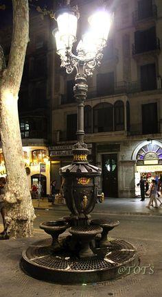 The Canaletes Fountain Ramblas Barcelona Catalonia