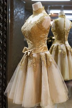 Lovely Champagne Ball Gown Mini Lace Party Dress