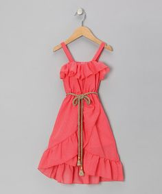 Coral Chiffon Ruffle Dress