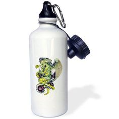3dRose Dread Cthulhu Lovecraft Mythos Elder God Horror Art, Sports Water Bottle, 21oz, White