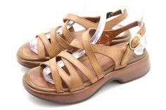 Dansko womens sandals size 7.5-8 LOLITA  honey brown leather ankle strap EU 38 #Dansko #AnkleStrap @ebay