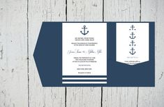 Nautical Pocket Wedding Invitation Template by GraphicArtDesign