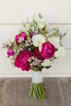 fuchsia peony and white bouquet / http://www.deerpearlflowers.com/fuchsia-hot-pink-wedding-color-ideas/