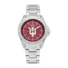 Indiana Hoosiers Ladies Stainless Watch w/ Red Dial