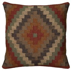 "Rizzy Home T05804 18"" x 18"" Pillow with Hidden Zipper and Polyester Filler Rust Home Decor Pillows Pillows"