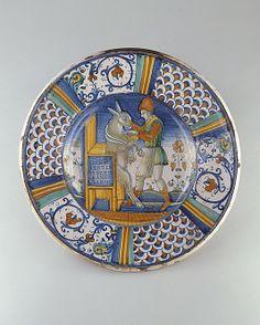 Dish (piatto): Man Washing the Mouth of an Ass, ca. 1550–60, Italian, Deruta