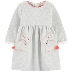 Cotton and polyester fleece Pleasant to the touch Soft lining Crew neck Long sleeves Gathered waistband Flared hem Fancy pockets Invisible zipper at the back Padded effect Mottled effect Embroideries Contrast piping - £ 42 Little Girl Dresses, Girls Dresses, Isabella Fashions, White Jumpsuits And Rompers, Jumpsuit With Sleeves, Ugly Sweater, Barbie Clothes, Baby Dress, Designer Dresses