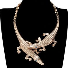 Gold Pendant Chain Choker Bib Statement Crocodile Necklace Women Punk Jewelry #Unbranded