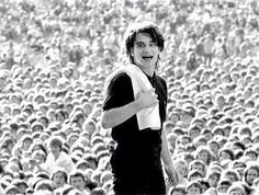 "A very very very young Bono, on a ""Thin Lizzy"" concert. Slane Castle, Ireland, 1980."