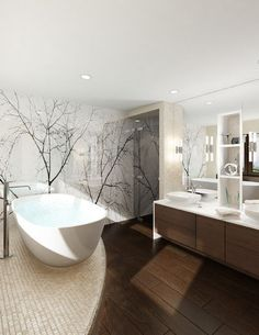 The images are photographs by Nagel or her team, which is also led by architect Vadim Kadoshnikov; nature is her favorite subject. She converts the photos into graphic design elements that fit the space she's working with. For instance, the graceful silhouettes of trees add to the relaxed feel of this bathroom.